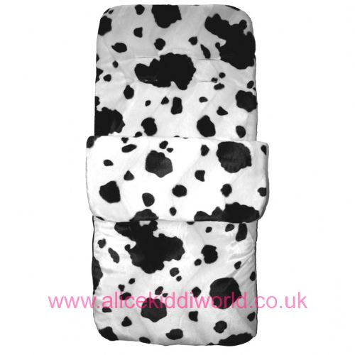 New Cow print black white fleece lined cosytoes footmuff